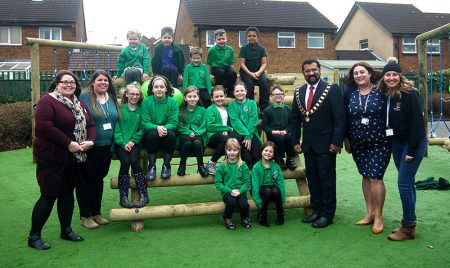 Photo of Bradley Stoke mayor Tom Aditya with staff and pupils at the official opening.