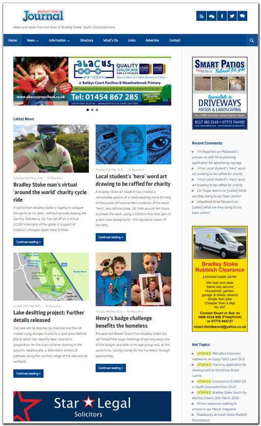 Screenshot of the Bradley Stoke Journal website.