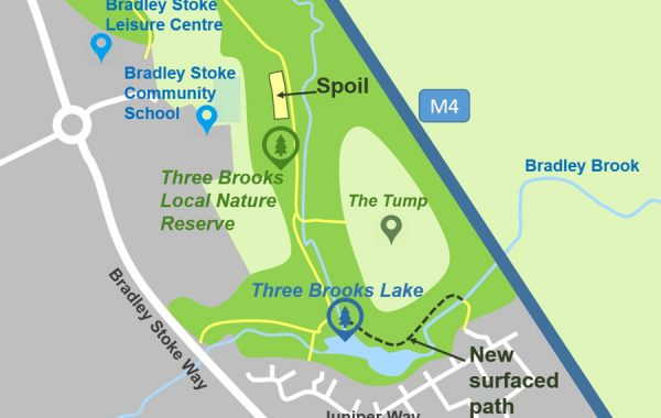 Map showing the location of the spoil dump area that will be used during the upcoming lake desilting operation. The route of a surfaced path that will be created as part of the project is also shown.