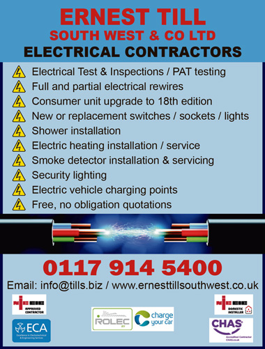 Ernest Till, electrical contractors, Patchway, Bristol.