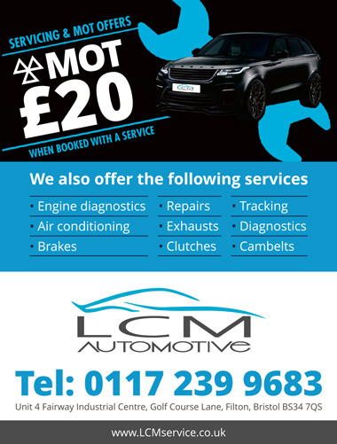 Servicing and MoT by LCM Automotive, Filton, Bristol.