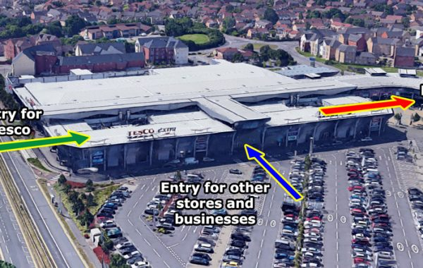 Annotated 3D-view showing customer movement plan.