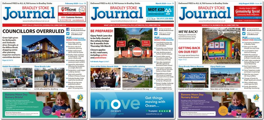Collage showing front covers of three issues of the Bradley Stoke Journal magazine.