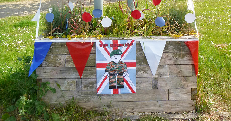 Photo of a 'Welcome to Bradley Stoke' planter decorated for VE Day 75.