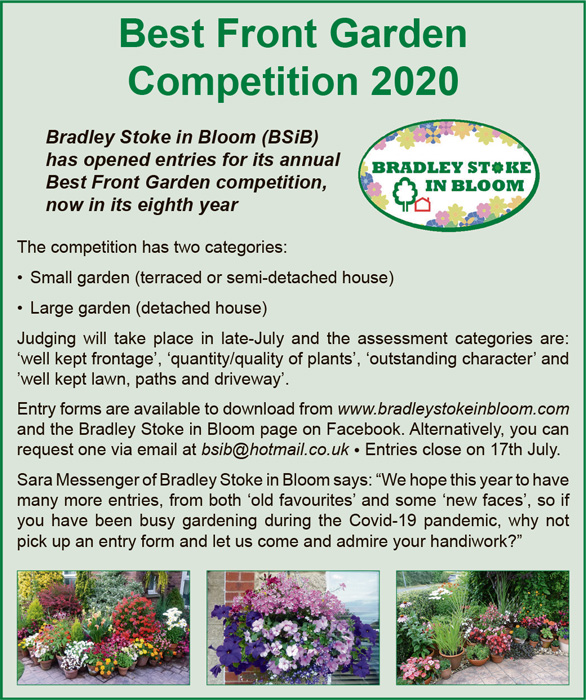Information panel promoting Bradley Stoke in Bloom's Best Front Garden competition 2020.