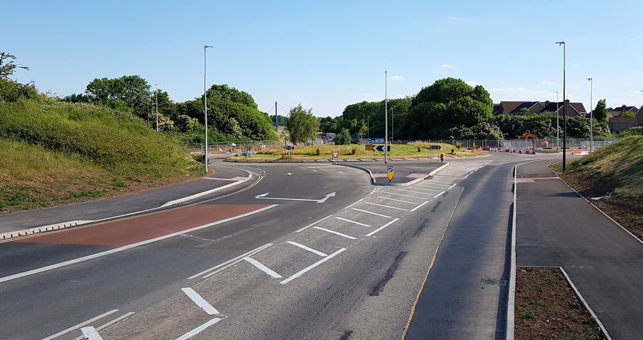 Photo of the Bradley Stoke Way arm of Great Stoke Roundabout (31st May 2020).