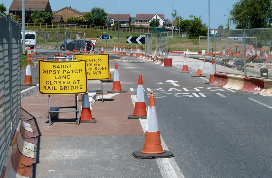 Photo of the Great Stoke Way (Parkway) approach to the roundabout (25th June 2020).