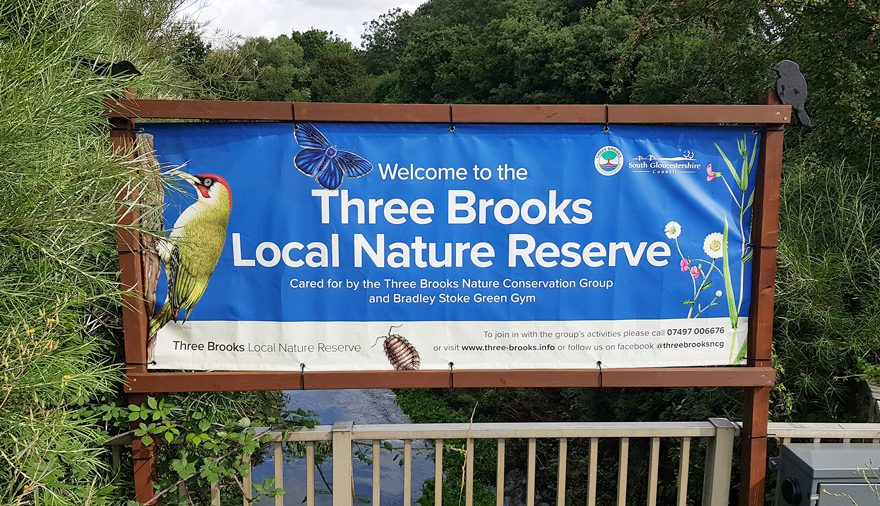 Banner promoting the Three Brooks Local Nature Reserve in Bradley Stoke.