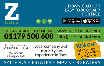 Z Cars Bristol, private hire taxi service.