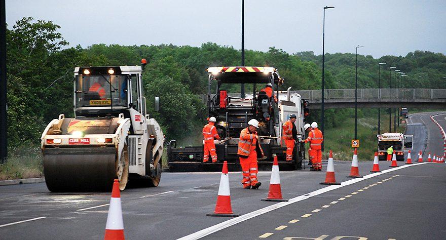 Photo of resurfacing work on Bradley Stoke Way in May 2019.