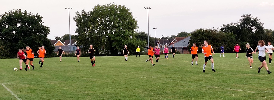 Photo of Bradley Stoke Ladies FC players training at the Jubilee Centre.