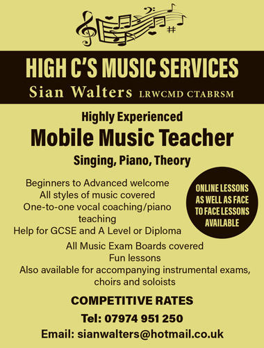 High C's Music Services - mobile music teacher covering Bristol and South Gloucestershire.