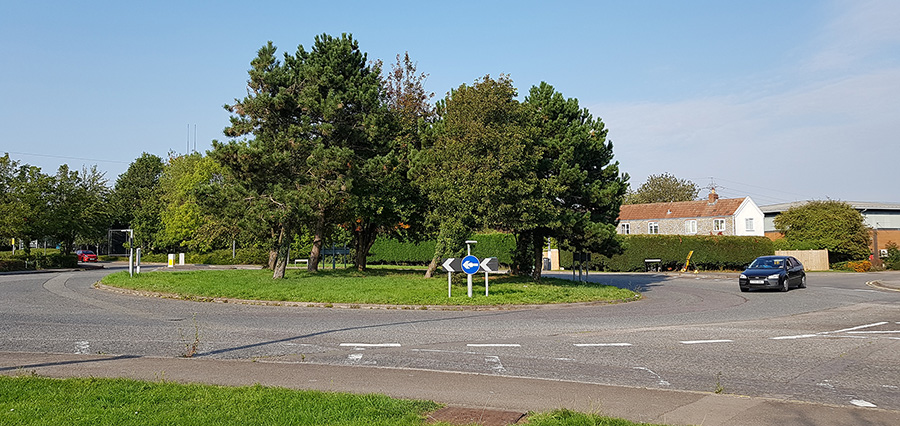 Photo of Pear Tree Roundabout, looking north towards Great Park Road.