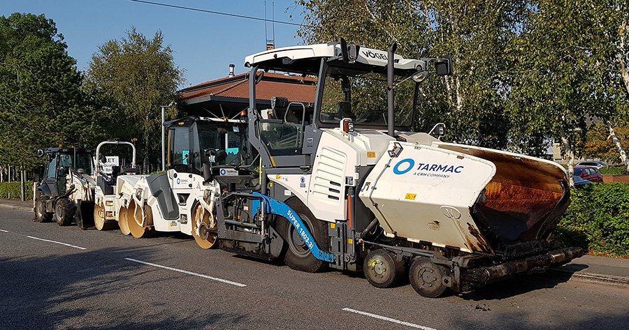 Photo of road surfacing plant parked on Great Park Road.