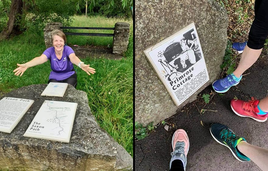 Two photos of Sole Sisters runner by the Living Landmarks plaques on The Common East.