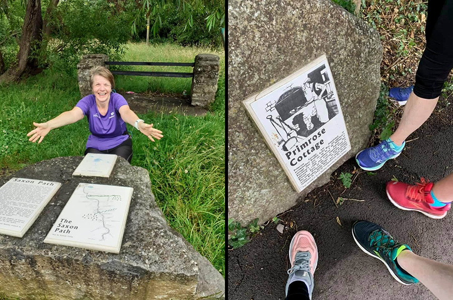 Two photos of Sole Sisters runners by the Living Landmarks plaques on The Common East.