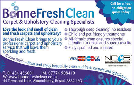 Bonne Fresh Clean: Carpet & upholstery cleaning specialists in Bristol and South Gloucestershire.