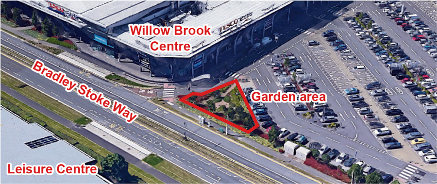 Aerial view showing the location of the small garden area at the Willow Brook Centre.