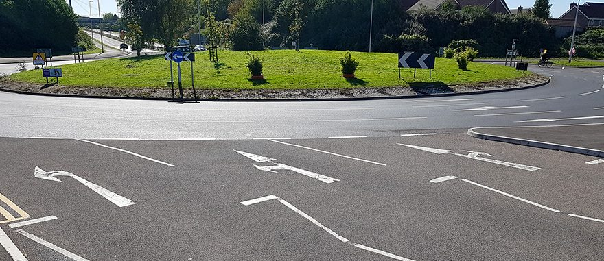 Photo showing road markings on the Bradley Stoke Way approach to Great Stoke Roundabout.