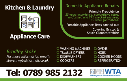 Kitchen & Laundry Appliance Care, Bradley Stoke, Bristol.