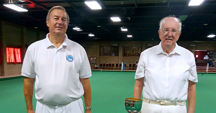 Photo of Men's Pairs champions Michael Cove (left) and Dennis Overton, with their trophy.