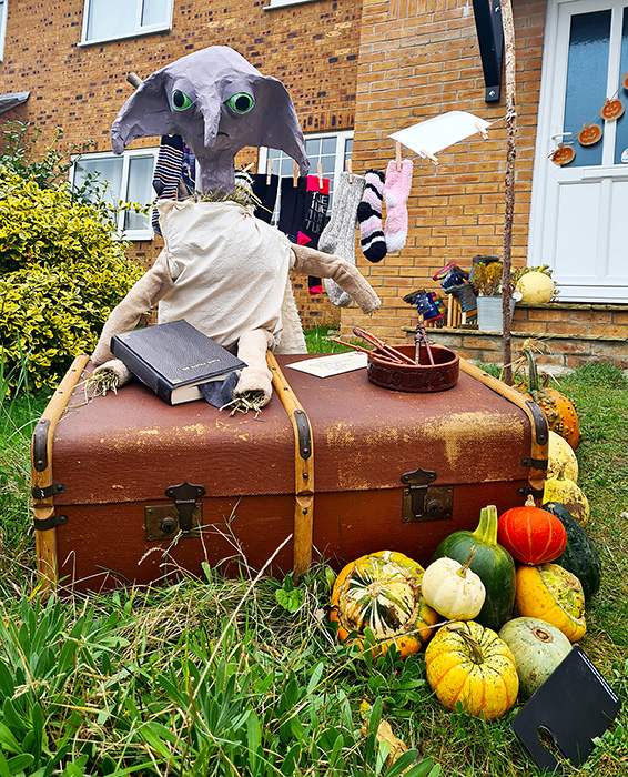 Photo of the Dobby the House Elf scarecrow.