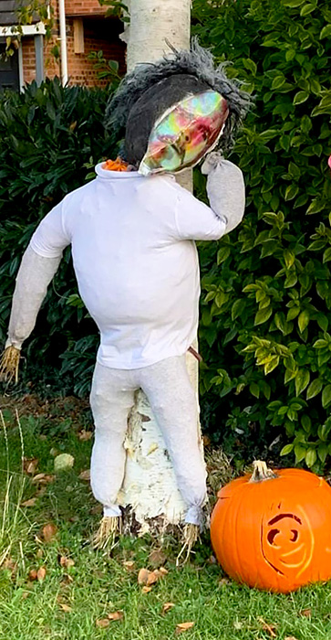 Photo of the Nearly Headless Nick scarecrow.