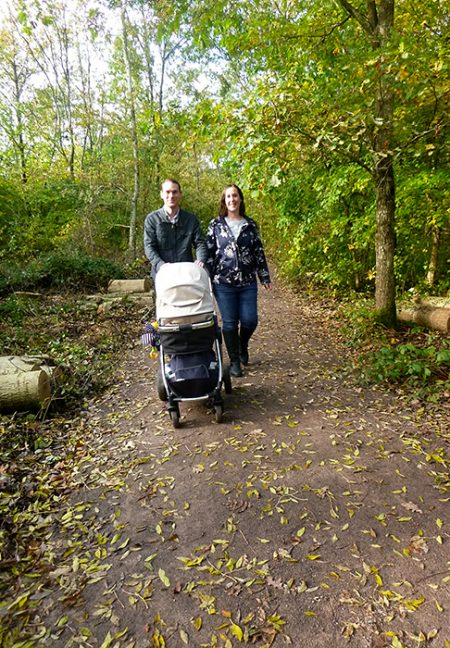 Photo of a family making use of the recently improved paths.
