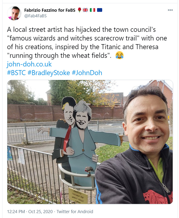 Tweet by Labour councillor Fabrizio Fazzino.