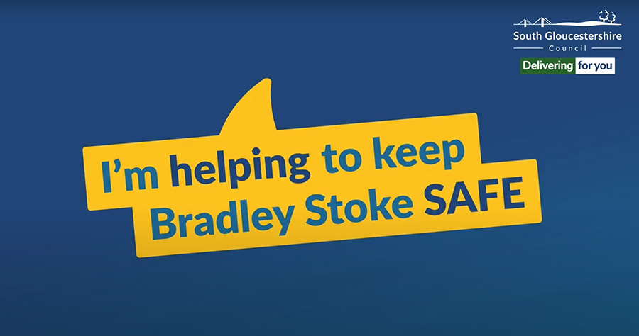"""Covid-19 banner: """"I'm helping to keep Bradley Stoke safe""""."""