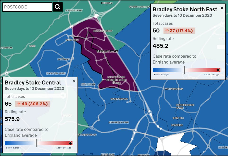 Map showing Covid-19 seven-day infection rates in Bradley Stoke for the period ending 10th December 2020.