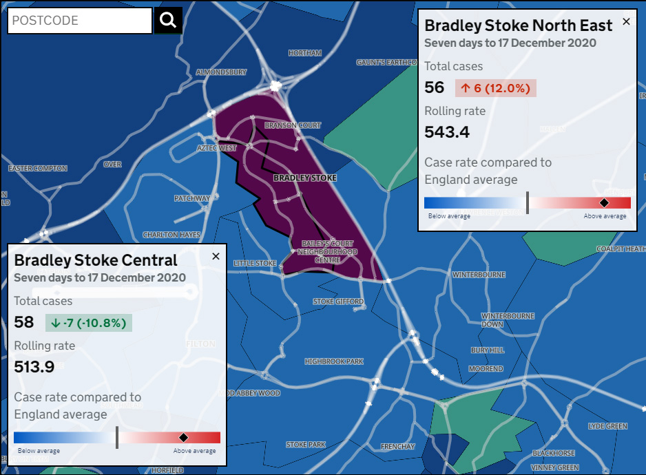 Map showing Covid-19 seven-day infection rates in Bradley Stoke for the period ending 17th December 2020.