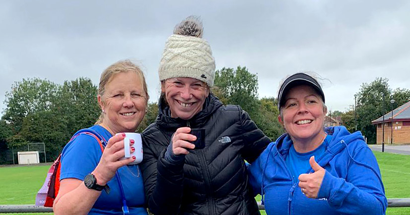 Photo of Nicola, Mary & Claire at the finish of the virtual race.