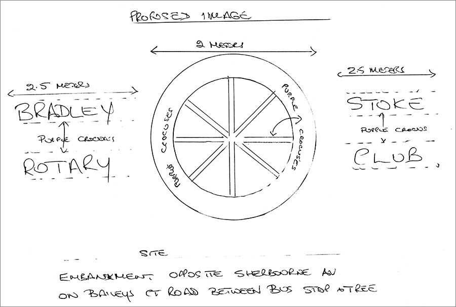 Design of the Bradley Stoke Rotary Club crocus wheel display.