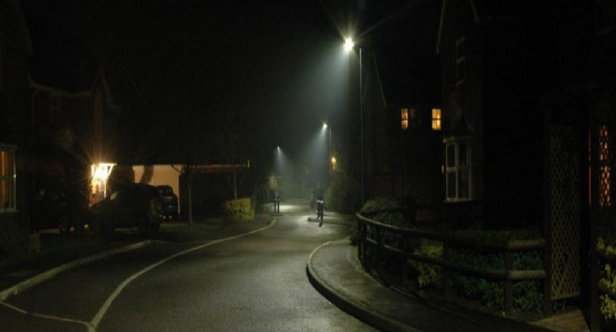 Photo of a street lit by LED lighting.