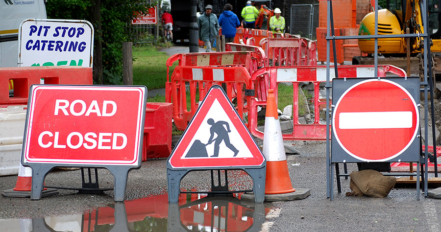 Photo of roadworks signs.
