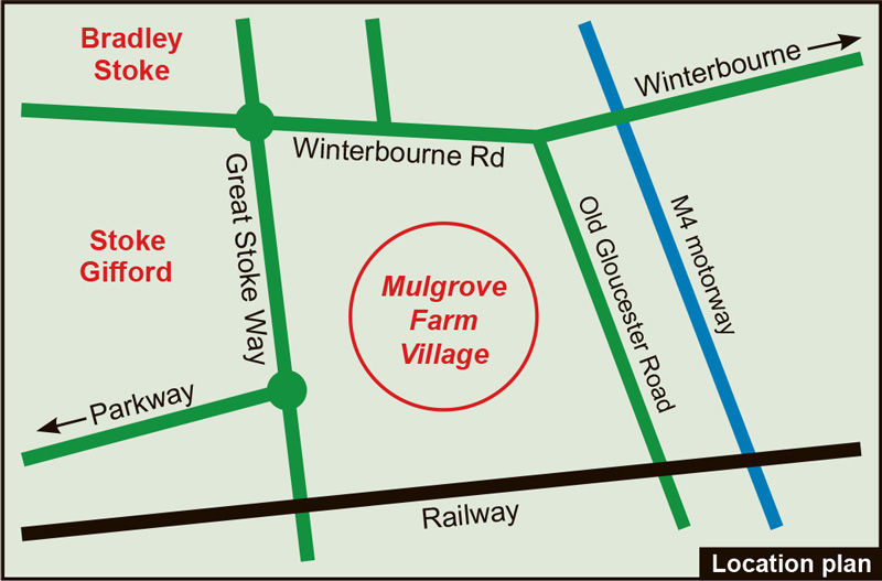 Map showing location of Mulgrove Farm Village.