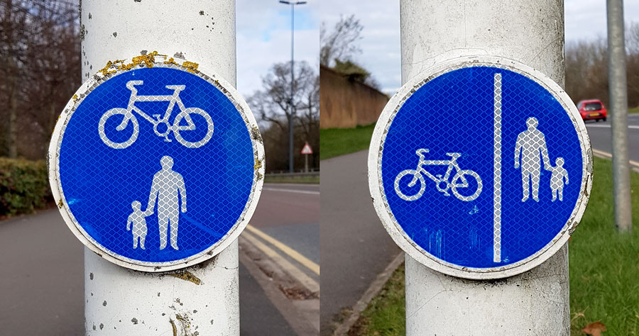 Photo of shared-use path signs.