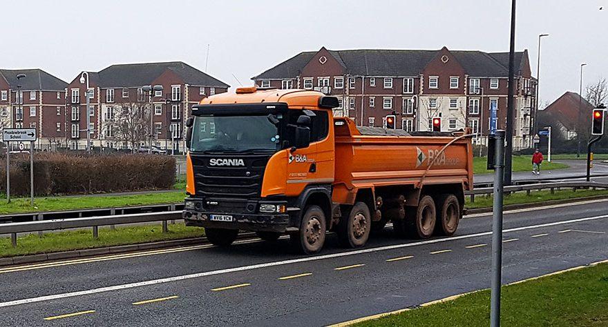 Photo of a tipper truck on Bradley Stoke Way.