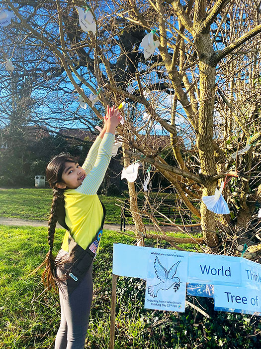 Photo of a Brownie Guide hanging a paper dove on the tree.