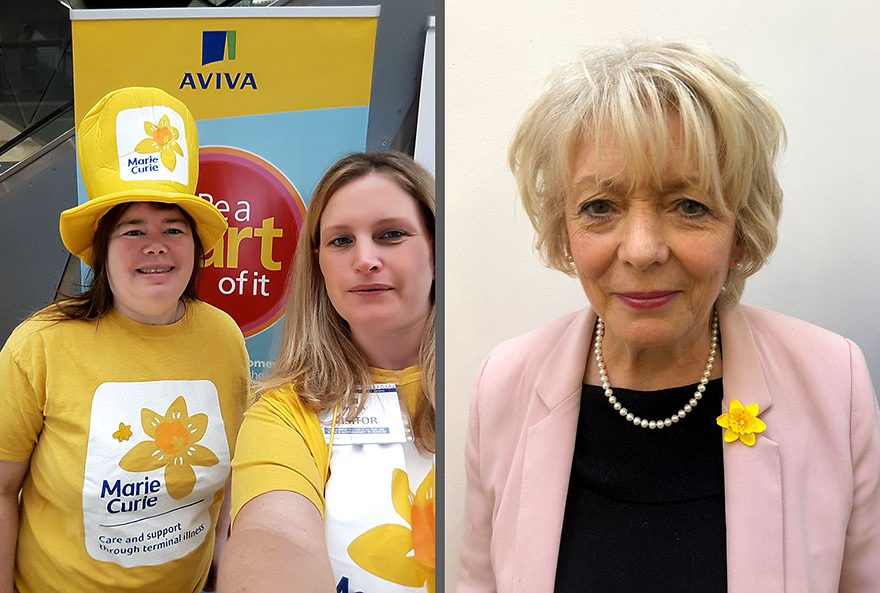 Composite photo of (1) two volunteers and (2) Alison Steadman.