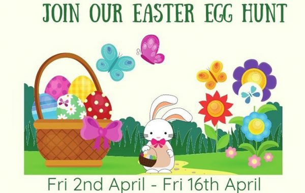 Poster promoting the Easter Egg Hunt.