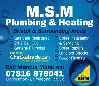 M.S.M Plumbing & Heating – serving Bristol & surrounding areas.