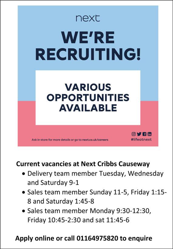 Job vacancies at Next, Cribbs Causeway, Bristol.