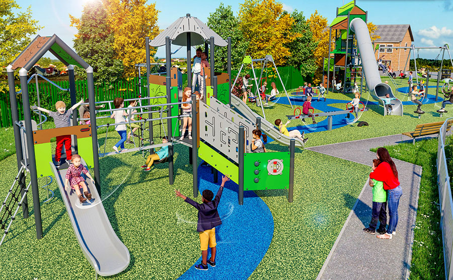 3D visualisation of a play park.