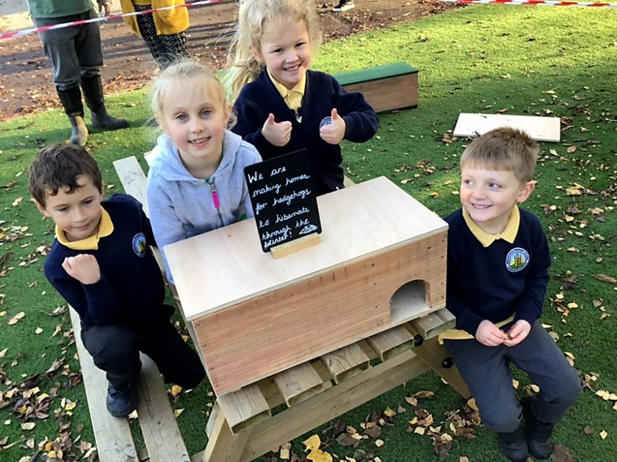 Photo of a group of pupils with a hogbox.