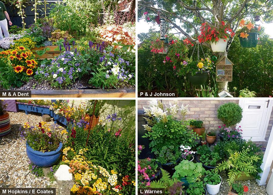 Photos of four gardens.