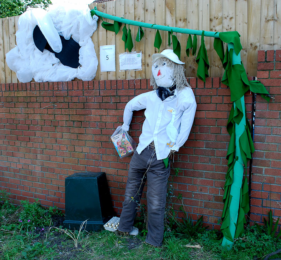 Photo of a scarecrow and accesories depicting Jack and the Beanstalk.