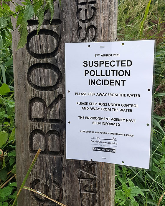 Photo of a notice titled 'Suspected pollution incident'.